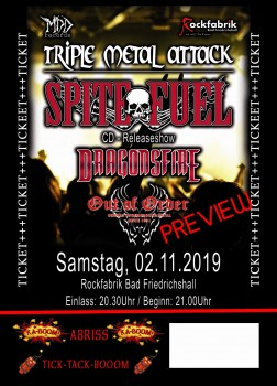 Ticket - SpiteFuel, Dragonsfire, Out Of Order - Bad Friedrichshall 02.11.2019